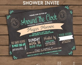Around The Clock Wedding Shower Invitation - Chalkboard - Printable - Bridal Shower  Couples Shower - Co-Ed Shower - Baby Shower