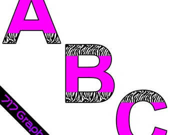 Hot Pink with Zebra Alphabet Clipart