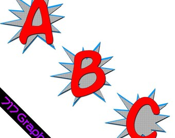 Superhero Alphabet Clipart (Red)