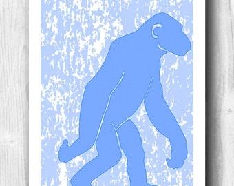 Chimpanzee print  poster, chimps art, nursery decor, nursery art, decorative arts, baby shower gift, baby room decor, play room decor,  5x7