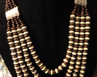 Multi strand wood bead necklace