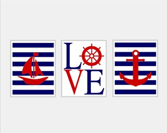 Baby Boy Nursery Art - Nautical Nursery Print - Nautical Nursery Decor - Boy Nursery Wall Art - Nautical Nursery Art - Navy White Red - 8x10