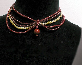Shanghai Necklace Cafe Society Collection:   Various Red and Green Pearls