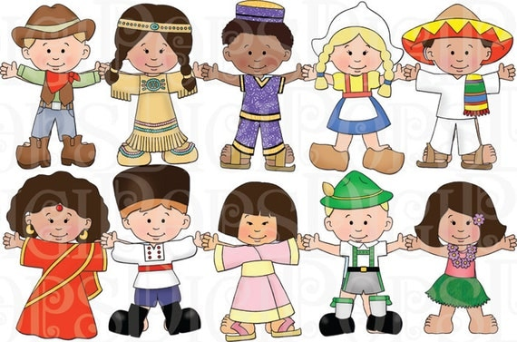 Children Of The World Dress Up Digital Clip Art Set Personal