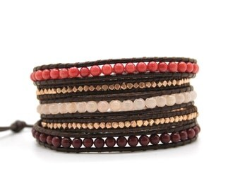 Berry Red and Blush Pink Mix Sectioned Wrap on Chocolate Brown Leather
