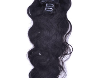 Freeshipping 80g hair/set 7pc/set wavy clips hair 16-26inches BODY WAVE Extensions virgin remy human hair Clip in Hair Extensions