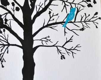 Blue Bird on a Tree Canvas Painting: 11x14
