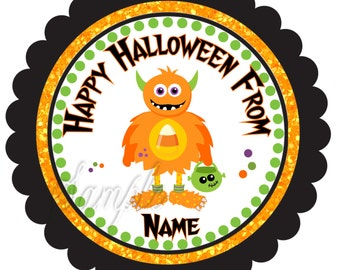 Halloween Stickers, Gift Tags Personalized Labels, Halloween Favor Stickers Halloween Orange monster