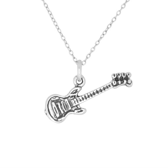sterling silver 925 guitar charm pendant necklace oxidized