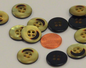 "Lot of 12 Pearlized Yellow and Brown Plastic Buttons Sew-through 3/4"" 19mm # 6483"