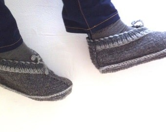 Slippers men's of wool handknit    with double thick sole   wool