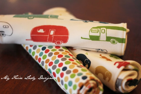 ORGANIC Modern Baby Burp Cloths, Set of Three, in campers, multi-colored dot, and elephant family