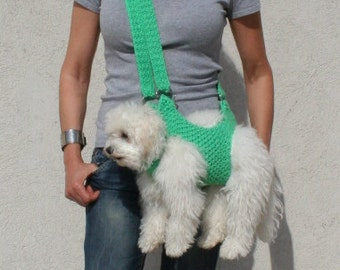 Pet carrier crochet dog carrier dog sling carrier with - Dog carrier sling pattern ...