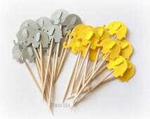 Mixed Yellow & Grey Elephant Cupcake Toppers, Food Picks-Set of 24 pcs