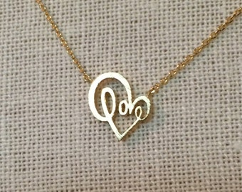 Love Heart & Love Script Necklace