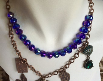 Unique Iridescent Beads and Mixed Metals Necklace