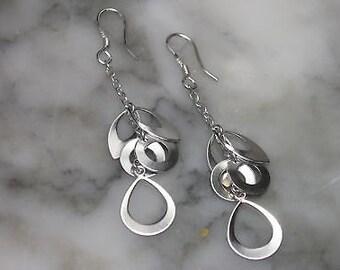 Earrings Stud Earrings Chandelier Silver Mix & Match Drops Silver Loops