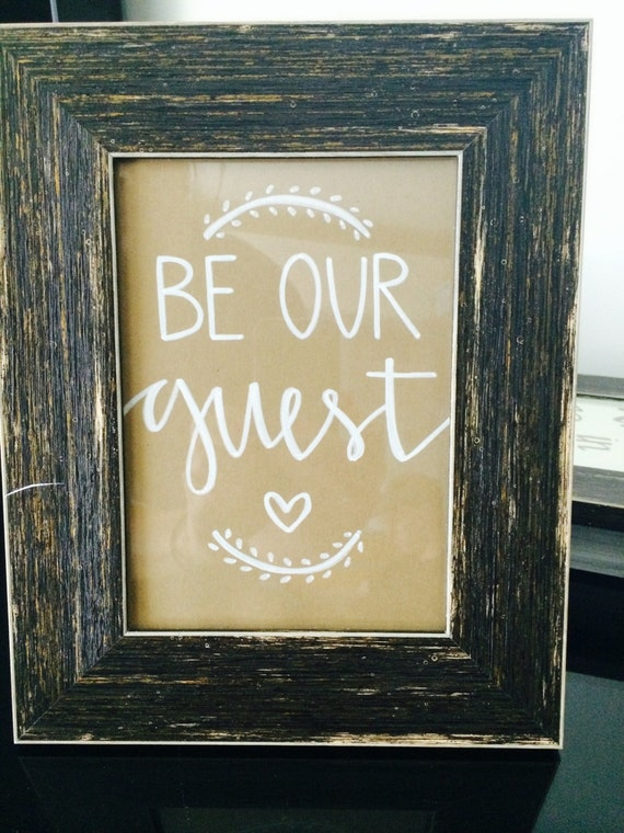 Be Our Guest 5x7 Rustic Framed Home Decor Sign For Guest