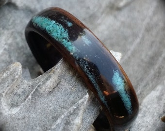 ebony bent wood ring with rustic turquoise inlay