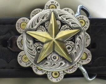 Bullet Belt Buckle 9mm  Nickel with Texas Star Men's Gift
