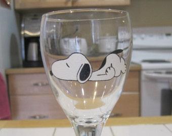 Snoopy wine glass