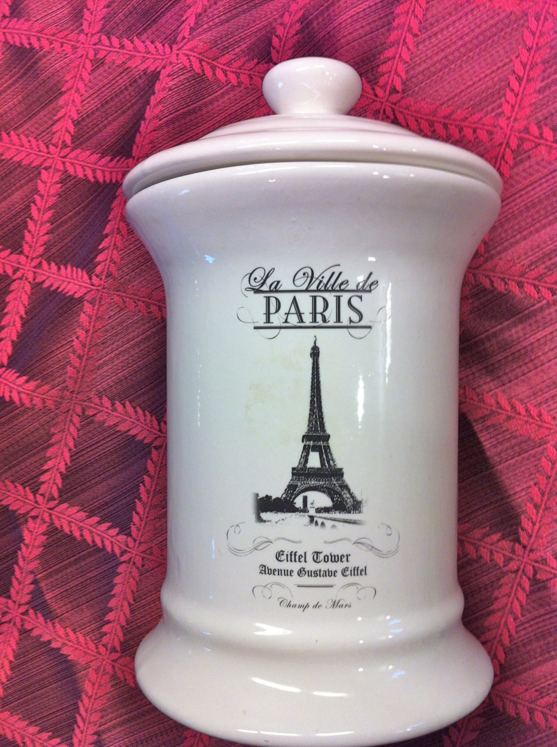 Old Paris French Eiffel Tower White Black Canister Cookie Jar