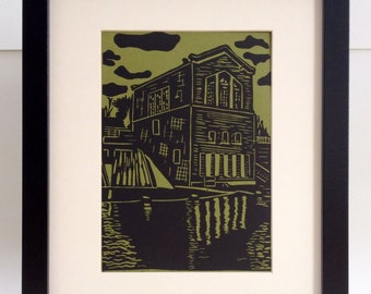 "River Dam Station handmade linocut print 5x7"", unframed (moss green) - home decor, wall art, made in Michigan, Valentine's Day gift"