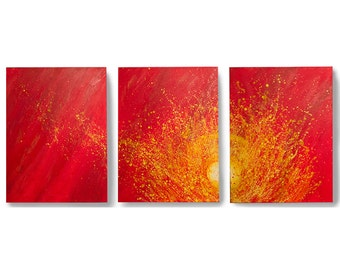 Triptych  Acrylic Abstract Red Painting - 54 x24  - Canvas Art, Home Decor, Wall Art, Crimson Hill Gallery,  Art by Brian Hill, 3 panel
