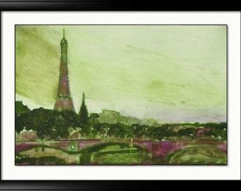 Paris art Print Eiffel Tower Paris Chic Purple Green abstract print Paris france skyline gift idea