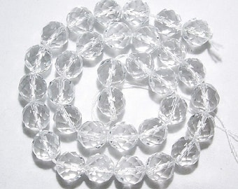 4,6,8,10,12mm Clear Quartz Round Faceted Natural Gemstone Beads --15 inch strand
