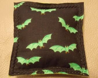 Halloween black and green bats catnip square - handmade organic catnip toy