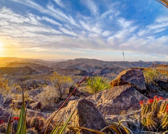 Sun rising over Big Bend Ranch State Park from Chorro Vista campsite.
