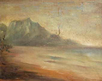Antique 1912 oil painting landscape impressionism signed