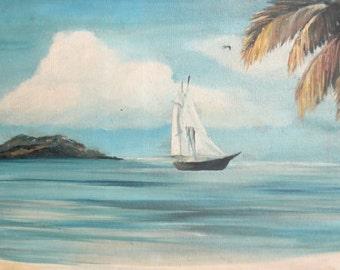 1991 landscape seascape oil painting signed