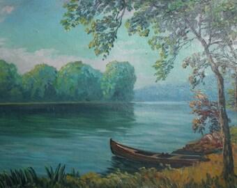 Vintage oil painting impressionist river landscape