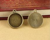 100 antique bronze 20mm/25mm/30mm(inner) bezel base charms
