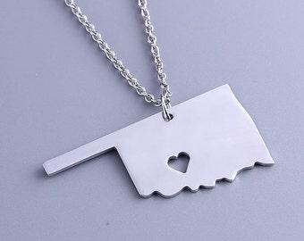 I heart Oklahoma Necklace - Oklahoma Pendant - Map Jewelry - State Charm - Map necklace