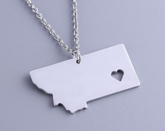I heart Montana Necklace - Montana Pendant - State Charm - Map necklace - Map Jewelry