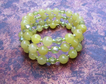 Yellow Green Sphere Memory Bracelet