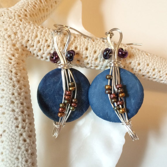 Unique Beaded Periwinkle Seashell Coloring Page: Blue Earrings Beaded Jewelry Coconut Shells Wirewrapped