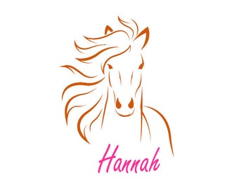 Horse decal horse sticker with name personalized childs vinyl wall room decor 22 X 31 inches