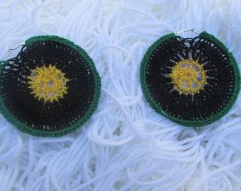 One Love Crochet Round Earrings