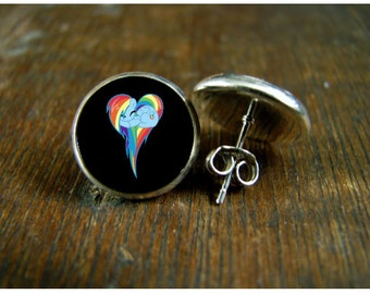 Rainbow Dash heart post earrings USA MADE & SHIPPED Silver plated post earrings wedding birthday Gifts movie jewelry