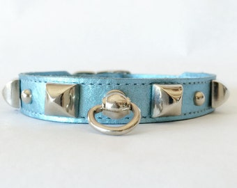 Small Handcrafted Blue Metallic Leather Silver Pyramid Stud Dog Collar