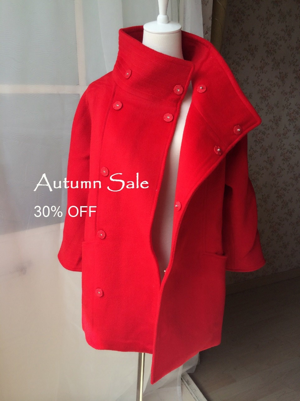 Womens RED COAT / Red Winter Coat / Red Wool Coat / Military Style ...