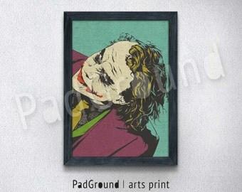 Batman Poster, Joker Print, Heath Ledger, Modren Home Decor, Wall Decor, Dorm Decor, Christmas Gift, Boys Gift, Burlap Print with Frame BM33