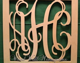 "28"" Vine Connected Monogram Letters Border Square - Unfinished"