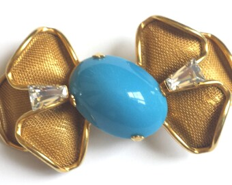 Vintage Scaasi Bow Brooch, Gold Bow Brooch, Turquoise Brooch