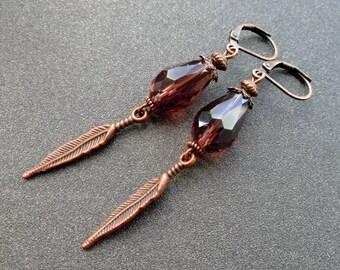 earrings lilac color. earrings crystal Czech. earrings leaf. earrings GLASS BEAD Czech. copper details.