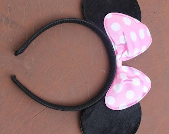 Pale Pink and White Dotty Minnie Mouse Ears